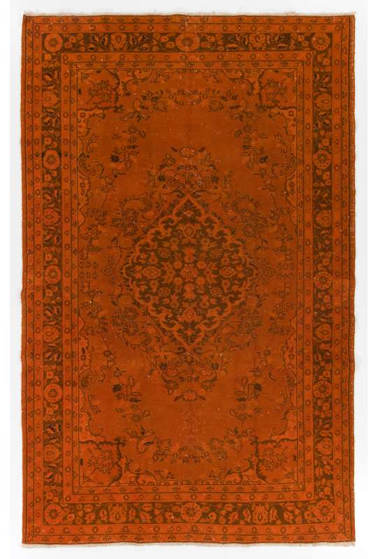 "5'10"" x 9'2"" (179 x 280 cm) Orange Color Vintage Overdyed Handmade Turkish Rug, Orange Overdyed Rug"