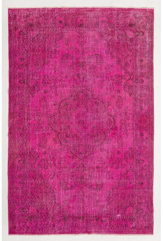 "Pink Overdyed Rug 6'6"" x 10'2"" (200 x 313 cm) Turkish Handmade Rug, Pink Vintage Rug, Overdyed Rug"