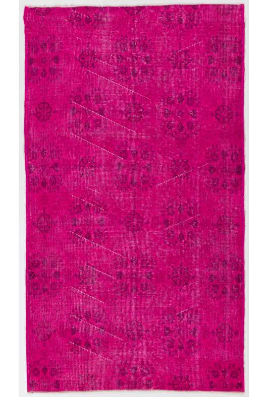 "3'10"" x 6'6"" (119 x 200 cm) Deep Pink Color Vintage Overdyed Handmade Turkish Rug, Pink Overdyed Rug"
