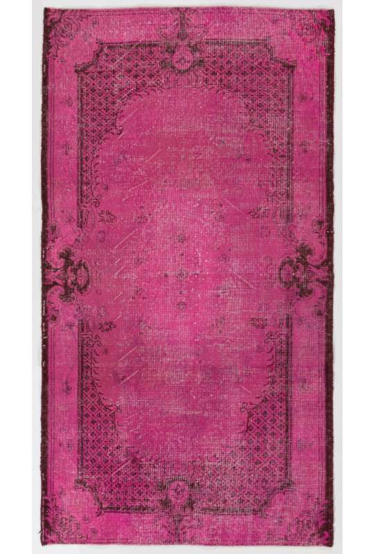 "3'9"" x 6'10"" (116 x 210 cm) Pink Color Vintage Overdyed Handmade Turkish Rug, Pink Overdyed Rug"