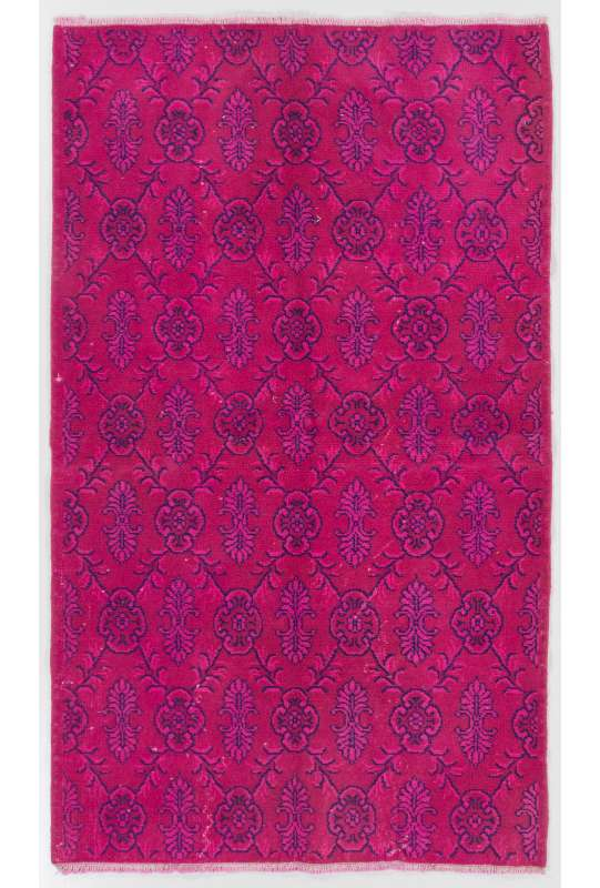 "3'9"" x 6'5"" (115 x 196 cm) Pink Color Vintage Overdyed Handmade Turkish Rug, Pink Overdyed Rug"