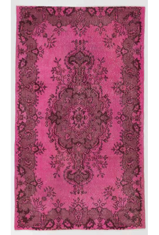 4' x 7' (122 x 213 cm) Pink Color Vintage Overdyed Handmade Turkish Rug, Pink Overdyed Rug