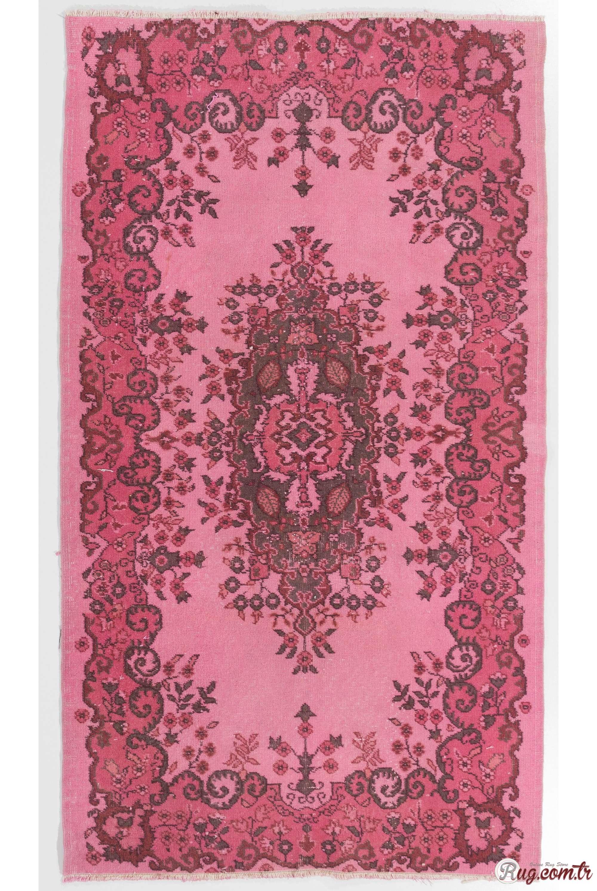 Pink Color Vintage Overdyed Handmade Turkish Rug Pink