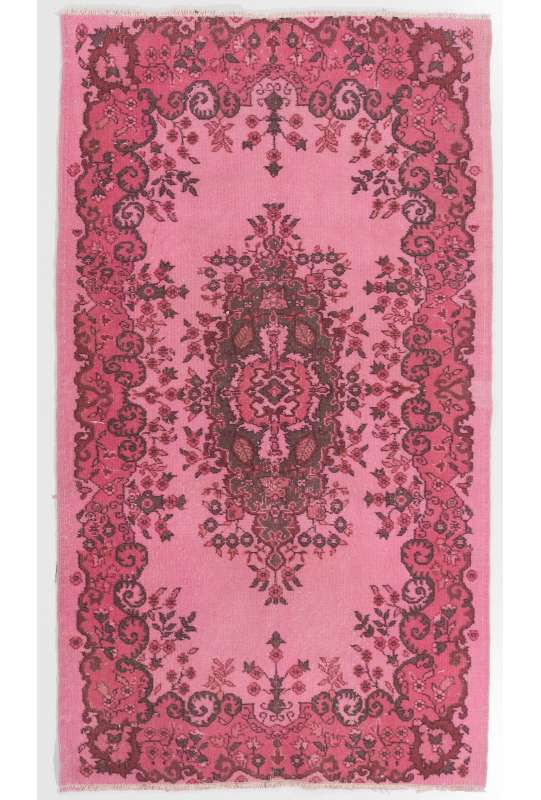 4' x 7' (123 x 216 cm) Pink Color Vintage Overdyed Handmade Turkish Rug, Pink Overdyed Rug