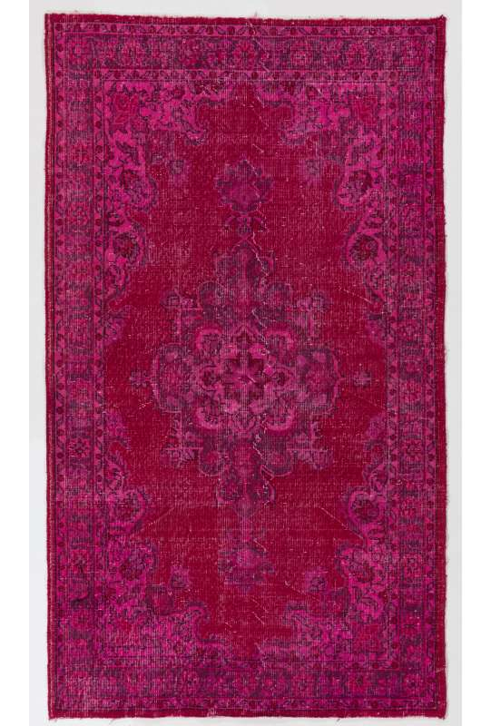 4' x 7' (123 x 217 cm) Ruby Pink Color Vintage Overdyed Handmade Turkish Rug, Pink Overdyed Rug