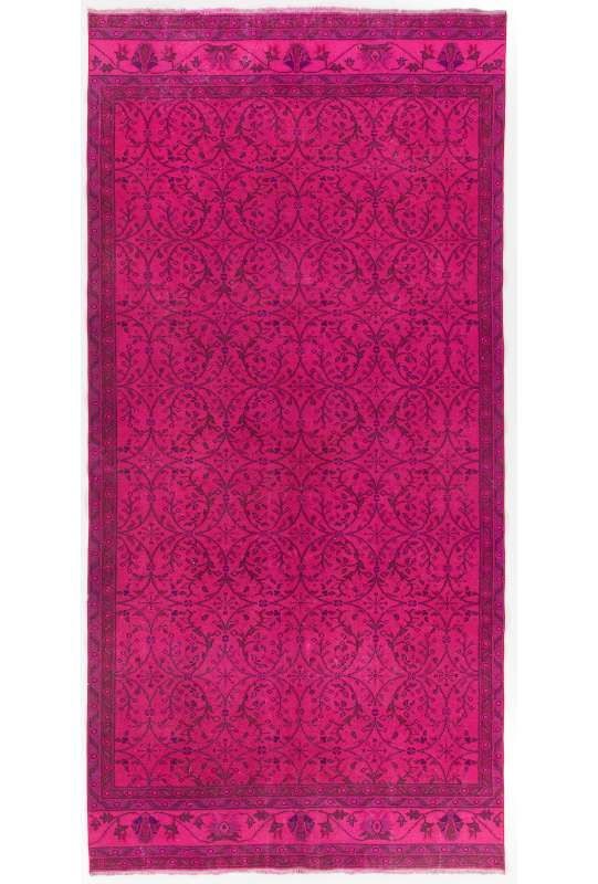 "5'2"" x 10'9"" (160 x 329 cm) Pink Color Vintage Overdyed Handmade Turkish Rug, Pink Overdyed Rug"
