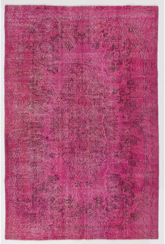 "5'6"" x 8'5"" (168 x 257 cm) Pink Color Vintage Overdyed Handmade Turkish Rug, Pink Overdyed Rug"