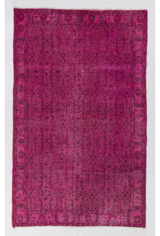 "5'8"" x 9'3"" (175 x 283 cm) Pink Color Vintage Overdyed Handmade Turkish Rug, Pink Overdyed Rug"