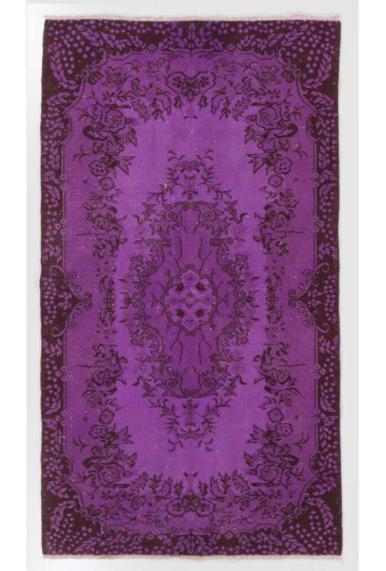 "3'10"" x 6'11"" (118 x 212 cm) Purple Color Vintage Overdyed Handmade Turkish Rug, Purple Overdyed Rug"