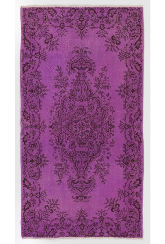 "3'10"" x 7' (117 x 214 cm) Purple Color Vintage Overdyed Handmade Turkish Rug, Purple Overdyed Rug"