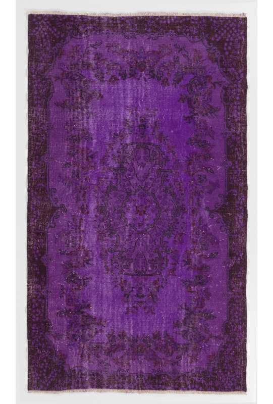 "3'11"" x 6'8"" (121 x 205 cm) Purple Color Vintage Overdyed Handmade Turkish Rug, Purple Overdyed Rug"