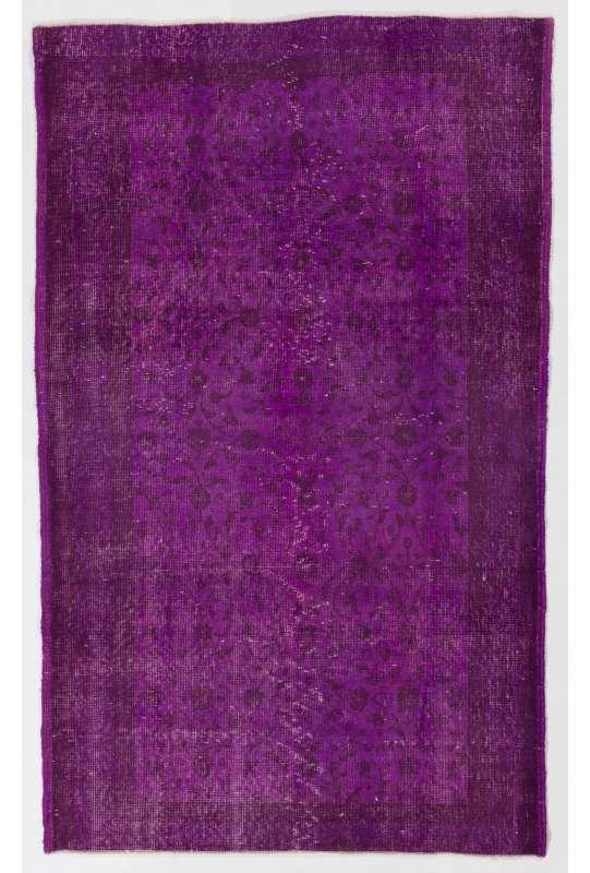"4' x 6'6"" (122 x 200 cm) Purple Color Vintage Overdyed Handmade Turkish Rug, Purple Overdyed Rug"