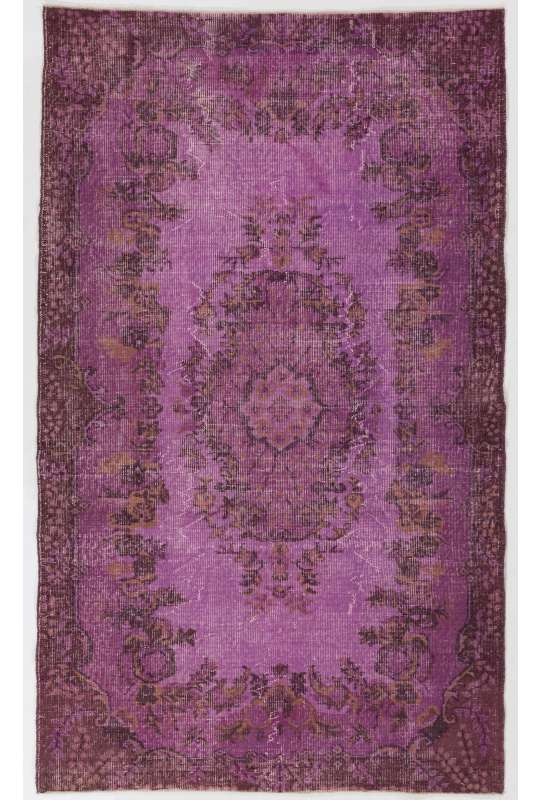 "4' x 6'9"" (123 x 206 cm) Purple Color Vintage Overdyed Handmade Turkish Rug, Purple Overdyed Rug"