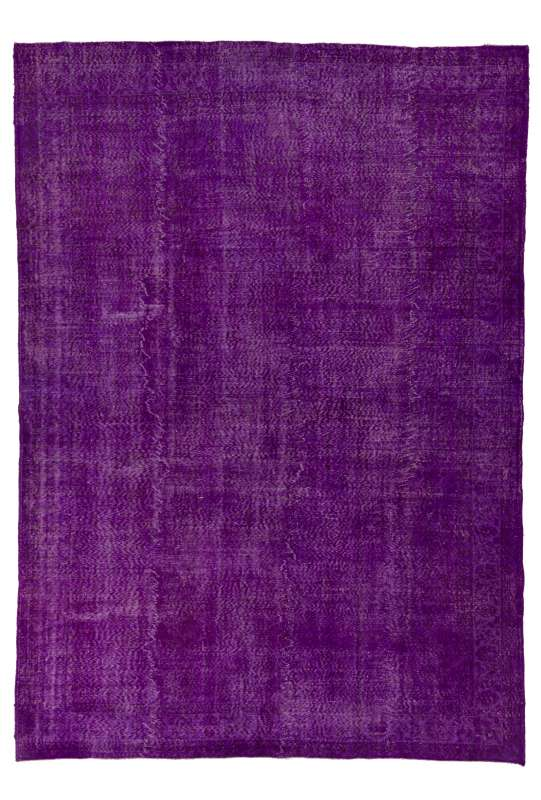 "7'10"" x 11' (240 x 340 cm) Purple Color Vintage Overdyed Handmade Turkish Rug, Purple Overdyed Rug"