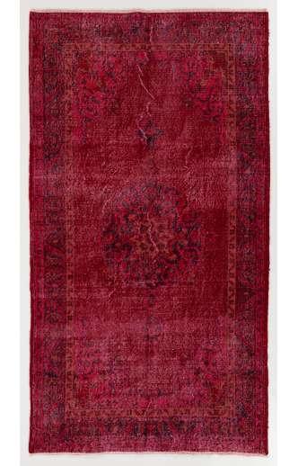 "3'9"" x 7'2"" (120 x 222 cm) Dark Red Color Vintage Overdyed Handmade Turkish Rug, Red Overdyed Rug"