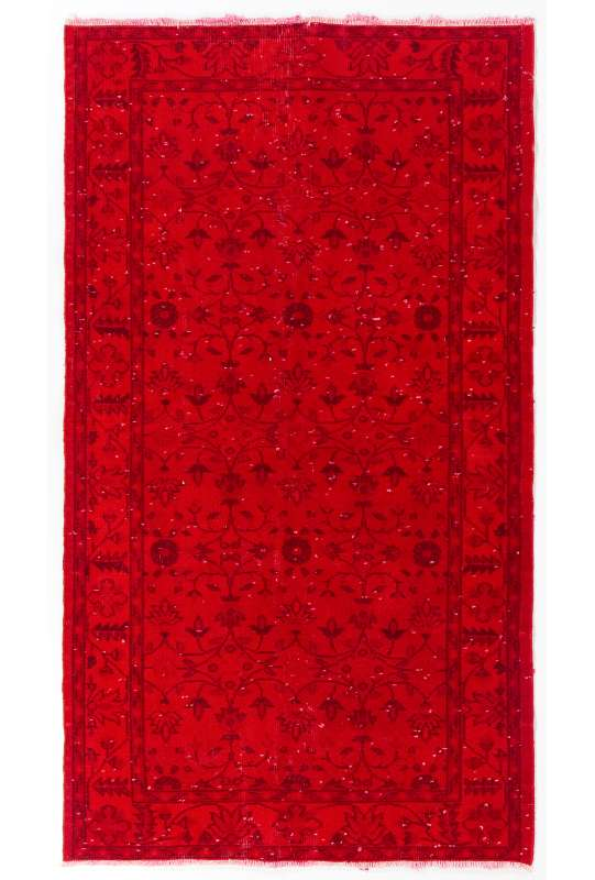 "3'10"" x 6'10"" (117 x 210 cm) Crimson Red Color Vintage Overdyed Handmade Turkish Rug, Red Overdyed Rug"