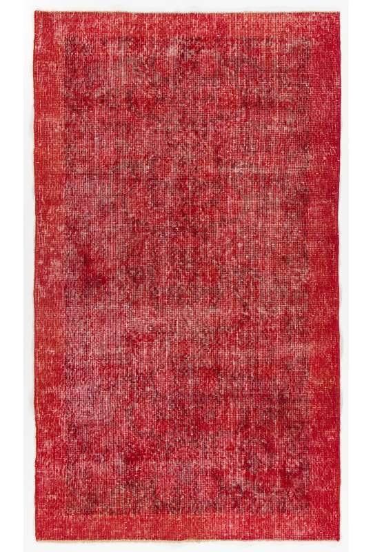 """3'10"""" x 6'9"""" (118 x 206 cm) Red Color Vintage Overdyed Handmade Turkish Rug, Red Overdyed Rug"""