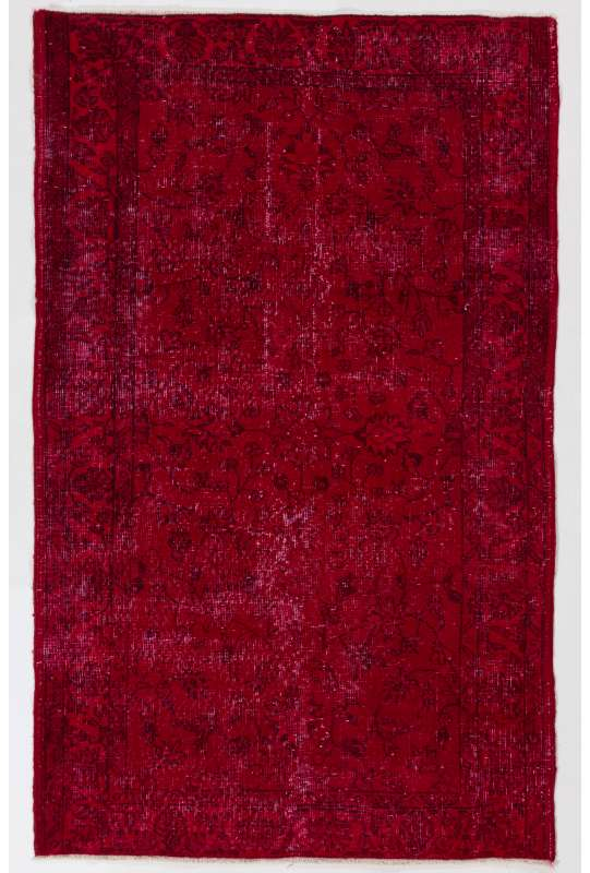 "3'11"" x 6'5"" (121 x 197 cm) Dark Red Color Vintage Overdyed Handmade Turkish Rug, Red Overdyed Rug"