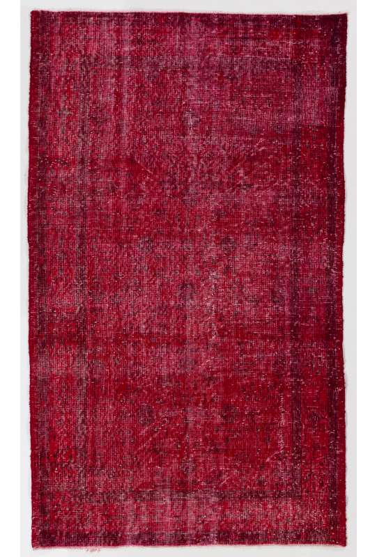 "3'11"" x 6'9"" (121 x 206 cm) Red Color Vintage Overdyed Handmade Turkish Rug, Red Overdyed Rug"