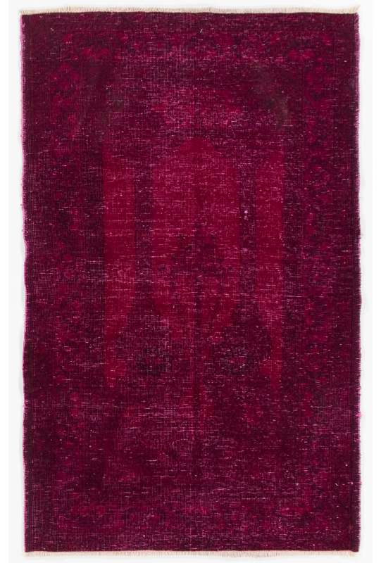 "3'5"" x 5'6"" (106 x 170 cm) Burgundy Red Color Vintage Overdyed Handmade Turkish Rug, Red Overdyed Rug"