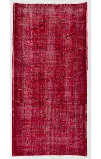 """3'6"""" x 6'11"""" (107 x 213 cm) Red Color Vintage Overdyed Handmade Turkish Rug, Red Overdyed Rug"""