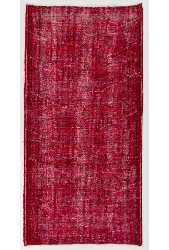 "3'6"" x 6'11"" (107 x 213 cm) Red Color Vintage Overdyed Handmade Turkish Rug, Red Overdyed Rug"