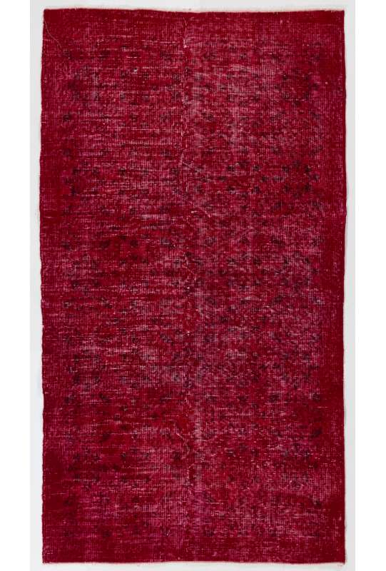 "3'8"" x 6'9"" (114 x 206 cm) Red Color Vintage Overdyed Handmade Turkish Rug, Red Overdyed Rug"