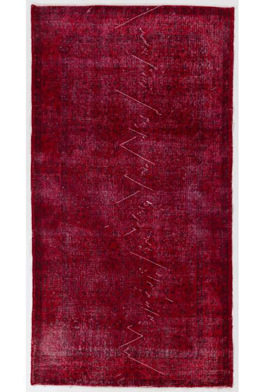 "3'9"" x 7'1"" (115 x 218 cm) Dark Red Color Vintage Overdyed Handmade Turkish Rug, Red Overdyed Rug"