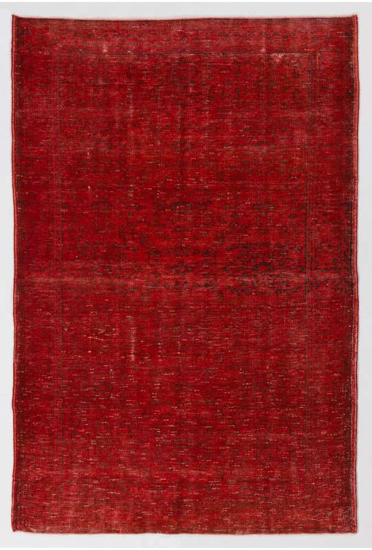 "5'1"" x 7'10"" (156 x 240 cm) Red Color Vintage Overdyed Handmade Turkish Rug, Red Overdyed Rug"