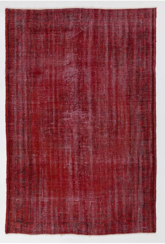 "5'4"" x 8'2"" (165 x 250 cm) Dark Red Color Vintage Overdyed Handmade Turkish Rug, Red Overdyed Rug"