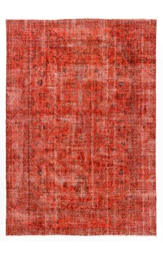 "7'8"" x 11' (240 x 340 cm) Red Color Vintage Overdyed Handmade Turkish Rug, Red Overdyed Rug"