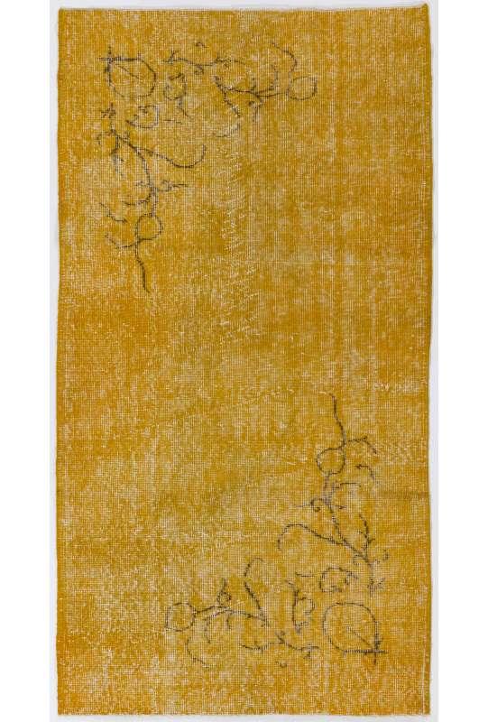 "3'3"" x 6' (100 x 187 cm) Yellow Color Vintage Overdyed Handmade Turkish Rug, Yellow Overdyed Rug"