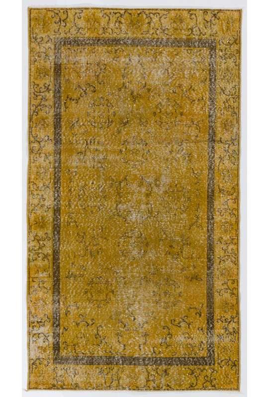 "3'8"" x 6'7"" (113 x 203 cm) Yellow Color Vintage Overdyed Handmade Turkish Rug, Yellow Overdyed Rug"