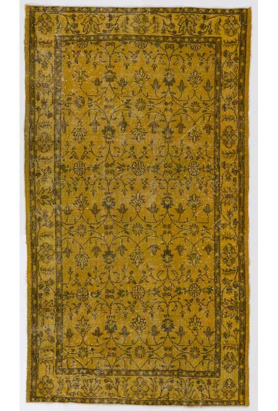 "3'9"" x 6'10"" (116 x 210 cm) Yellow Color Vintage Overdyed Handmade Turkish Rug, Yellow Overdyed Rug"
