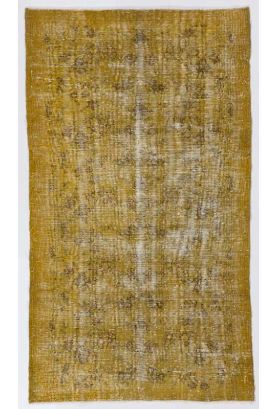 "3'9"" x 6'6"" (115 x 200 cm) Yellow Color Vintage Overdyed Handmade Turkish Rug, Yellow Overdyed Rug"