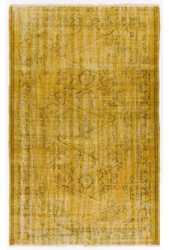"5'5"" x 8'9"" (167 x 267 cm) Yellow Color Vintage Overdyed Handmade Turkish Rug, Yellow Overdyed Rug"