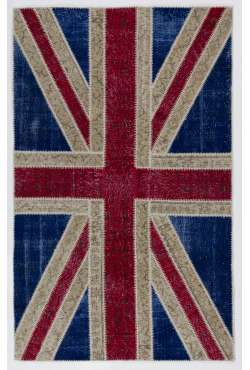 152x245 cm British Flag Union Jack Design Multicolor PATCHWORK RUG