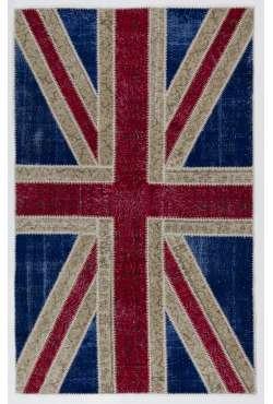 152x245 cm British Flag Union Jack Design Multicolor PATCHWORK RUG