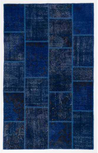 5' x 8' Navy Blue Color Patchwork Rug