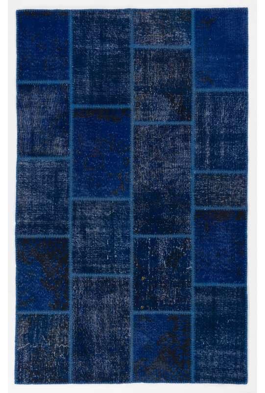 5' x 8' Navy Blue Color Patchwork Rug