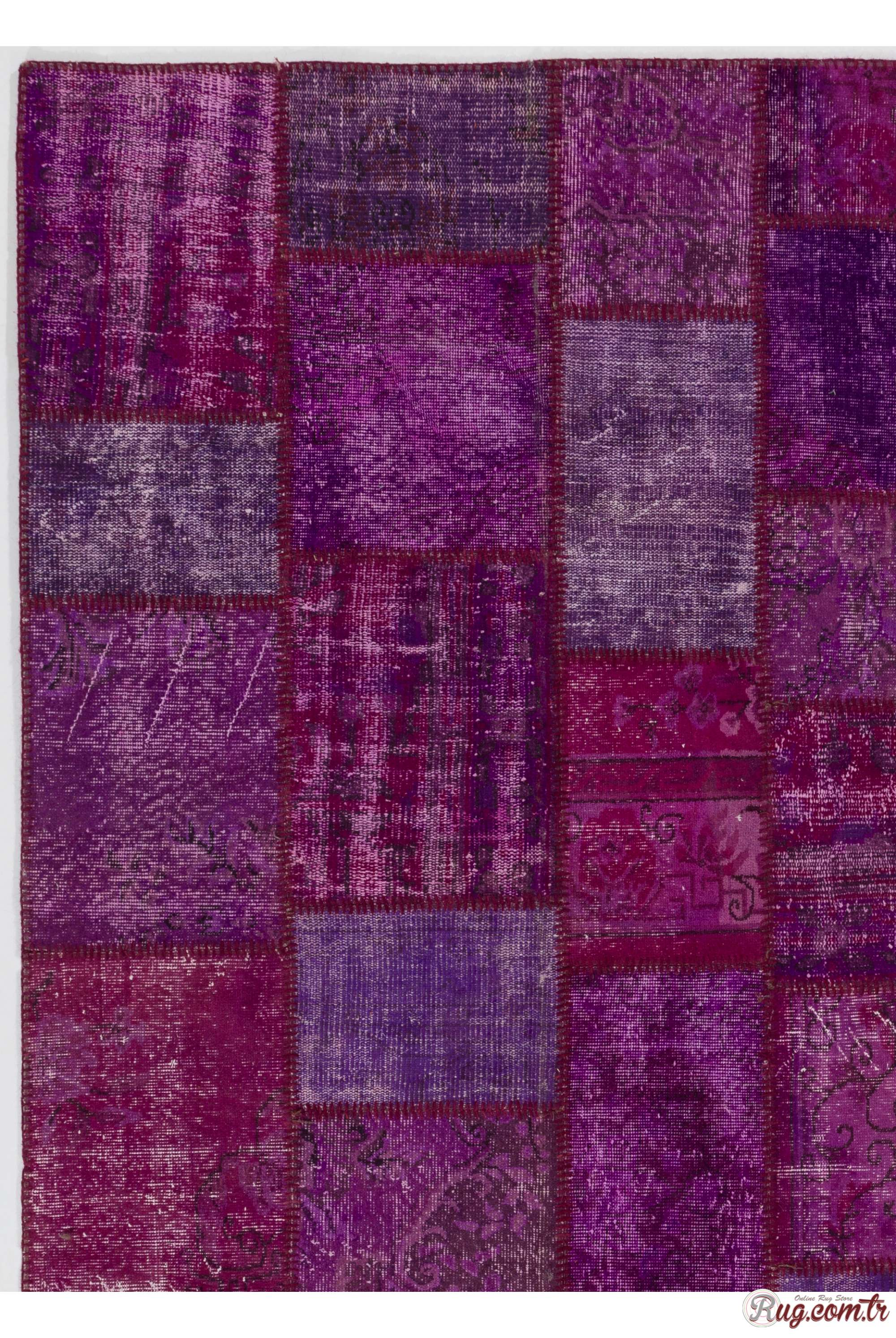Purple Lavender Lilac Orchid Color Patchwork Rug