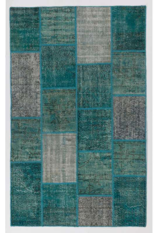 152x245 cm Turquoise Blue Color PATCHWORK Rug