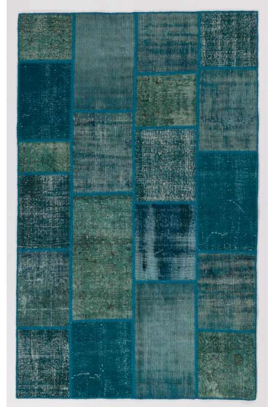 152x245 cm Turquoise Blue Colour PATCHWORK Rug