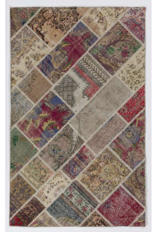 152x245 cm Multicolor UNDYED PATCHWORK Handmade Rug