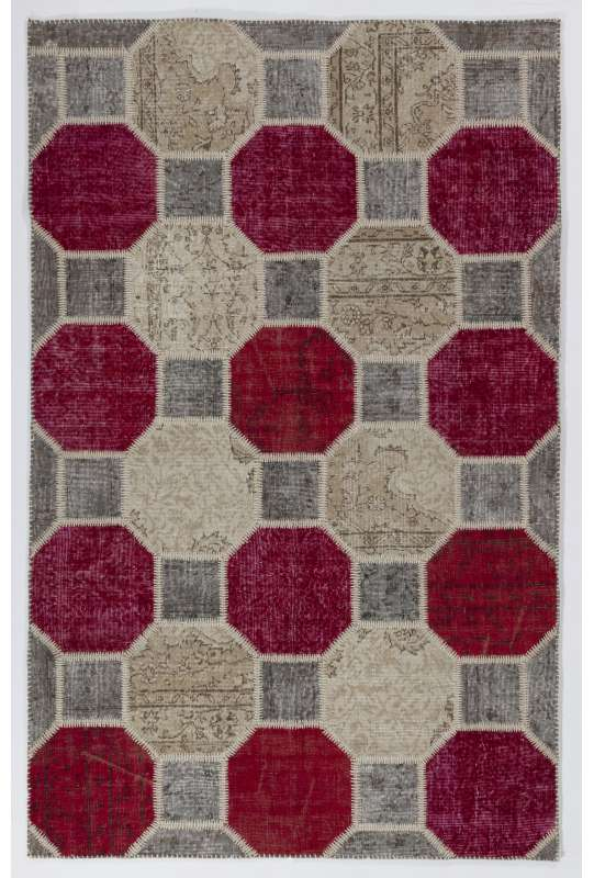 "5'2"" x 8'2"" (160x250 cm) Beige, Light Gray & Red Color PATCHWORK Rug"