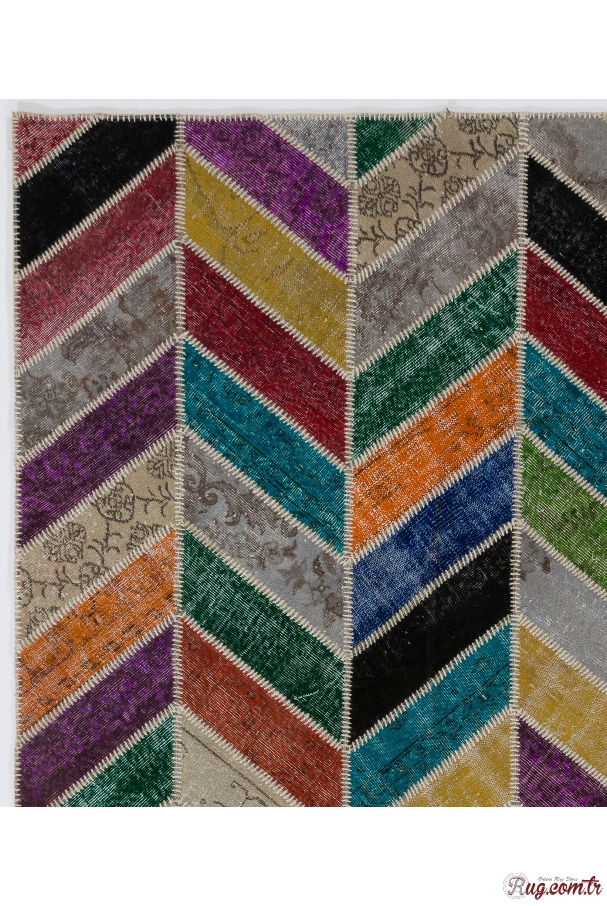 183x245 Cm 6x8 Ft Multicolor Patchwork Rug Chevron
