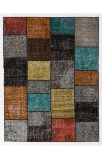 200x260 cm ( 6.6 x 8.6 Ft ) Gray, Black, Yellow, Orange, Blue Patchwork Rug