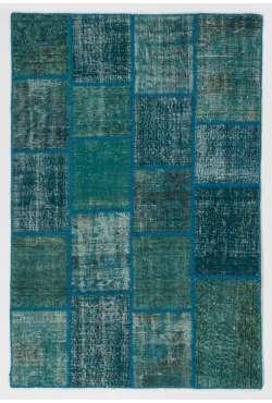 4' x 6' Blue Color Patchwork Rug