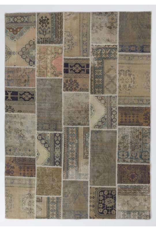 7' x 10' (213 x 305 cm) Undyed Neutral Beige, Brown and Cream PATCHWORK Rug