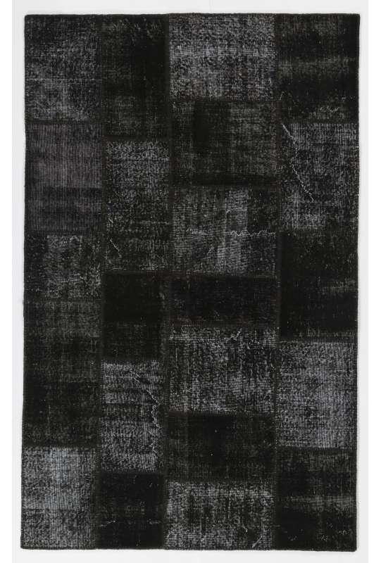 5' x 8' (152x245 cm) Black Patchwork Rug